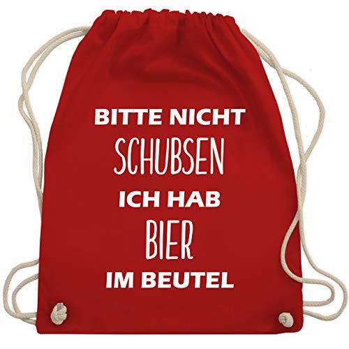 Shirtracer Festival Turnbeutel - Bitte nicht schubsen ich hab Bier im Beutel - Unisize - Rot - turnbeutel mit sprüchen - WM110 - Turnbeutel und Stoffbeutel aus Baumwolle