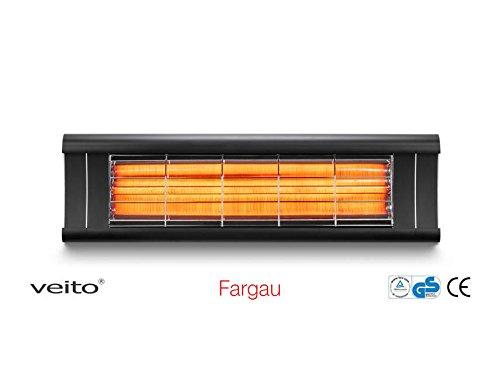 Chauffage Infrarouge Veito Aero très Moderne et Design 2500 Wat - IP44 étanche - Onde Moyenne Chaleur Confortable (Noir sans télécommande)