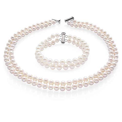 TreasureBay Two Row AA Grade 7-8mm Freshwater Cultured Pearl Necklace Bracelet Women Pearl set (White)