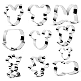 BakingWorld Mickey Mouse Cookie Cutters Set - 10 Pcs - Mickey Minnie Mouse Head Face Hand Shoes Bow Shorts Shapes Stainless Steel Biscuit Fondant Cutter Molds for DIY Cake Craft Bakeware Decoration