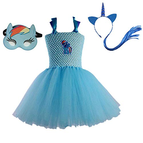LZJE 3Pcs Dress UpClassic Girls Costume Girls Tutu Dress para My Little Girl Toddler Pony Disfraz para Fiesta de cumpleaos Halloween, Azul 3pcs, 7