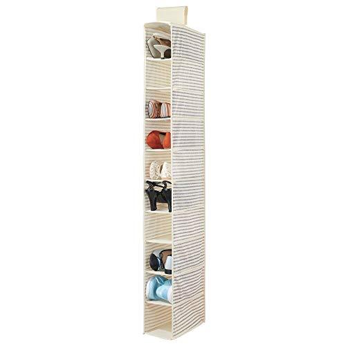 mDesign Organizador de zapatos para armario – Muebles zapateros para colgar con 10 compartimentos – Estanterías para zapatos, bolsos o carteras para ahorrar espacio con diseño de rayas – blanco y azul