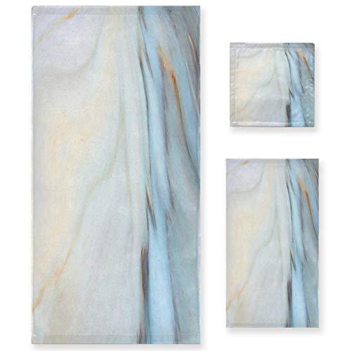 Naanle Juego de 3 toallas de baño de mármol azul retro para baño de algodón altamente absorbente, toalla de baño grande+toalla de mano+toalla, paquete de 3 toallas de suavidad para decoración