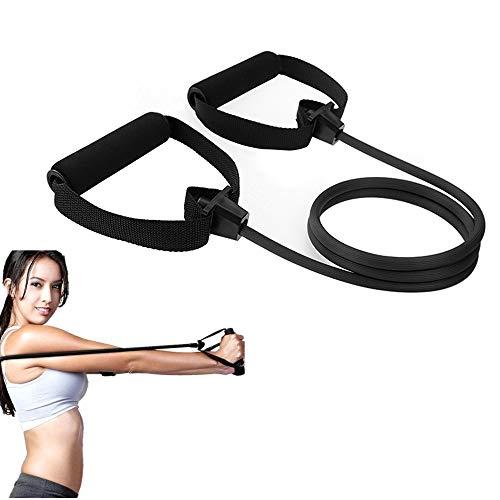 PAKASEPT Outdoor Yoga elastische Fitness Übung Zugseil Übung Widerstand Bands Trainingsbänder mit Griff (30 lbs schwarz)