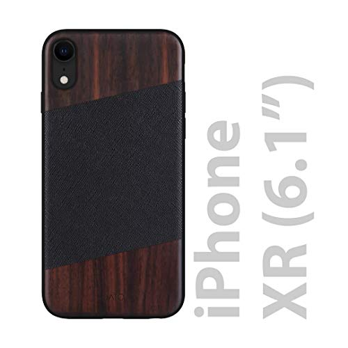 iATO iPhone XR Case Wood & Leather. Black Saffiano Genuine Leather & Real Bois de Rose Dark Wood iPhone XR Case {Fully Protective Shockproof Bumper w Raised Bezel Lips} Leather & Wooden iPhone XR Case