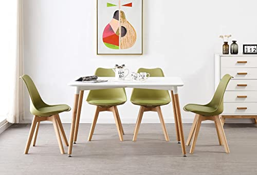 P&N Homewares® Lorenzo Dining Table and 4 Chairs Set Retro and Modern Scandinavian Dining Set White Black and Grey Chairs with White Dining Table (Lime Green Chairs)