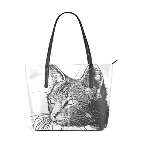 TIKISMILE Handtasche mit Katzenmotiv aus PU-Leder für Damen und Mädchen