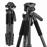 2021 New Travel Camera Tripod, Lightweight Aluminum Video Tripod for DSLR SLR Canon Nikon Sony Olympus DV 55 inch with Carry Bag -11 Lbs(5Kg) Load (Black)