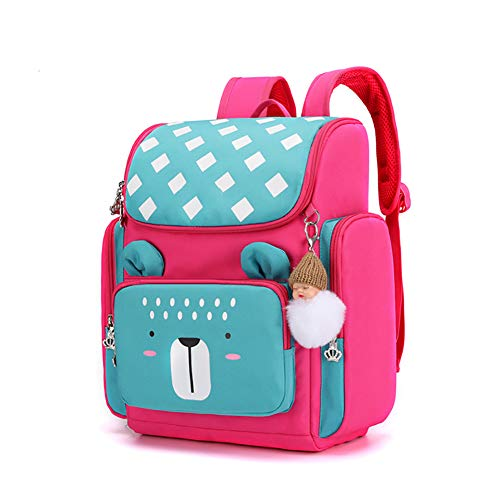 2020 NEW primary student backpack,Children's backpack,With pendant decoration, Reflective strip, for grades 1-3,Best gift for kids-Rosered