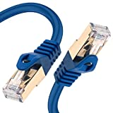 Cat 7 Ethernet Cable Network Patch Cord Blue 200ft 10Gbps LAN 600Mhz Copper 26AWG S/FTP CAT7 Shielded High Speed Internet Performance Gold Plated RJ45 for Gaming/Modem/NAS/Router/Laptop