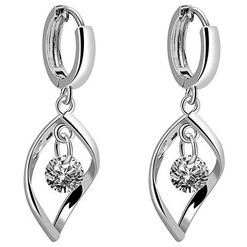 Ruby569y Pendientes colgantes para mujer y niña, diseño de gota de agua con diamantes de imitación giratorios y huecos, joyería de fiesta