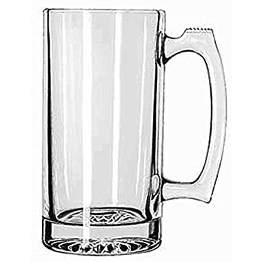 SUPER LARGE 7  TALL X 3.5  WIDE GLASS STEIN / MUG, 2.5 POUND, HEAVY-DUTY 24 OUNCE THICK CLEAR GLASS HOT/COLD DRINKING STEIN MUG CUP TUMBLER. USE FOR BEVERAGES LIKE COFFEE, TEA, BEER, WATER, SODA, ETC.
