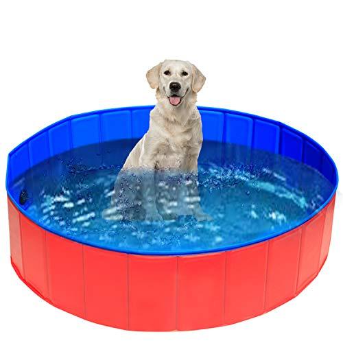 UMARDOO Fold Dog Pool - Pet Bath Pool, Swimming Pool Portable PVC Pet Paddling Bath Tub for Cats (X-Large-63'' X 12'')