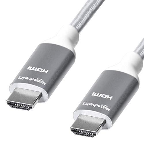 Amazon Basics - Cavo intrecciato HDMI, ad alta velocità, grigio chiaro, 3 metri