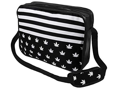 Alsino Messenger Bag Umhängetasche College Tasche Retro Messengertasche Schultertasche, Variante wählen:MEB-014 Marihuana weiß