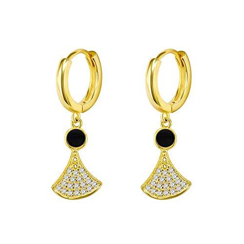 pendiente 925 plata esterlina geométrica cuelgan pendientes para las mujeres de alta calidad cristal oro Color Sector hoja Bohemia pendientes joyería