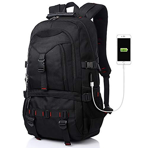 Tocode Laptop Backpack with USB Charging Port & Headphone Port, 17-Inch Fashional Computer School Backpack Water Resistant Business Bag Black Anti-theft Travel Backpacks for Men Women