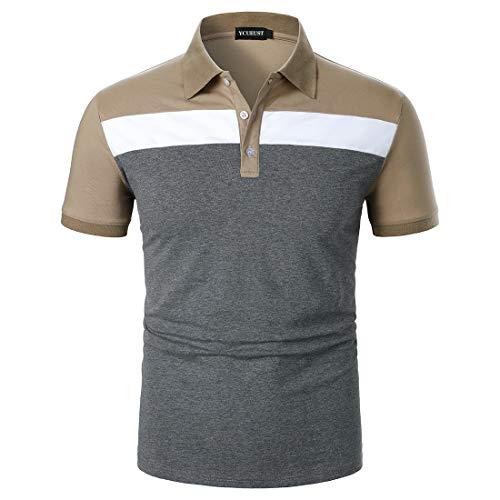 YCUEUST Polo Hombre Contraste Regular Fit Verano Camiseta Khaki L