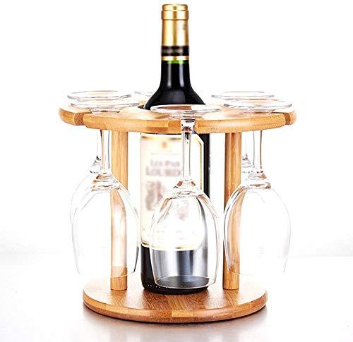 Zuoao Bottiglia di Vino Coppa cremagliera del Vino cremagliera Vino Rack portabottiglie Tavolo mensola portabottiglie Bottiglia di Vetro cremagliera di bambù, 6 Cups