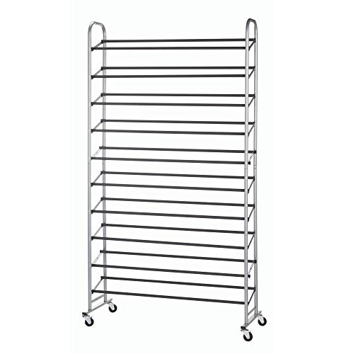 Type A Shoe Rack | Shoe Organizer for Closet | 50-Pair Shoe Storage | Metal 10-Tier Shoe Shelf | Adjustable 
