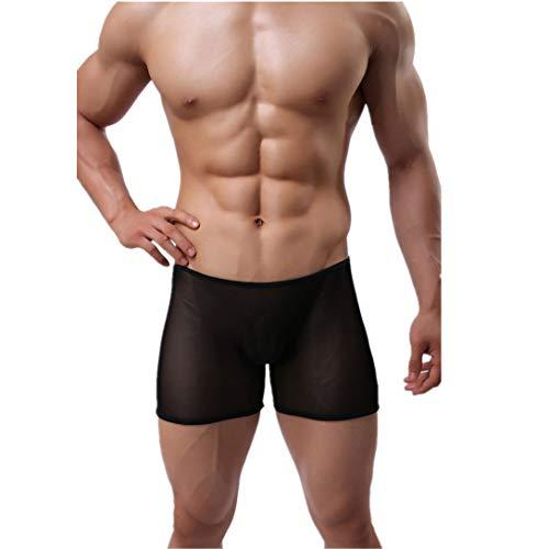 Wiftly Boxershorts Herren Beutel Unterhose Shorts sexy Erotik Transparent männer Low-Rise ouvert U Convex Boxer Briefs Unterwäsche (Schwarz)