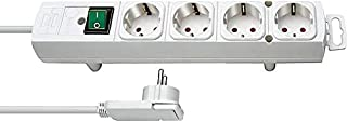 Brennenstuhl Comfort Line Socket Power Strip with 4 Sockets for Mounting (2 m Cable, Illuminated Switch, Mountable, Flat P...