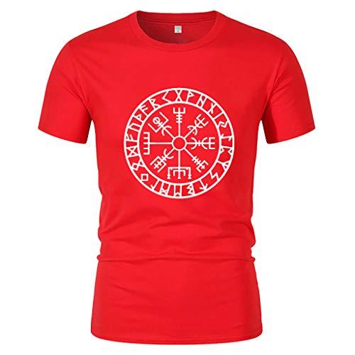 Yowablo Herren Poloshirt Polohemd Stehkragenshirt Kurzarmshirt Funktionsshirt Sportshirt Fitness Shirt Tee T-Shirt Sporthemd Trainingsshirt Sportswear T-Shirt (L,Rot)