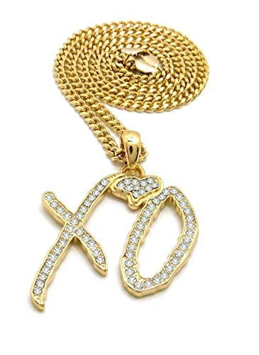Shiny Jewelers USA Mens Iced Out XO Gang Hip Hop Pendant 24' Box, Rope, Cuban Chain Necklace (Gold Cuban Chain)