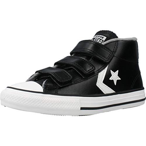 Converse Unisex-Kinder Star Player 3V Sneakers, Black Mason Vintage White, 33 EU