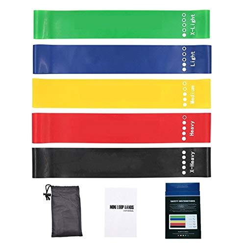 5pcs / set de Yoga Bandas de resistencia del látex banda elástica de goma for la aptitud Loops entrenamiento estiramiento de tracción por cable Gimnasio Gomas Equipo de Deporte ( Color : With pack )