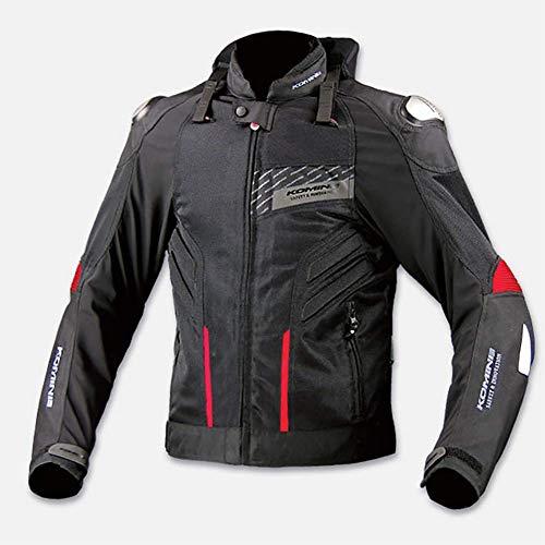 LALEO Unisex Giacca da Moto con Spia LED, Quattro Stagioni Traspirante Anti-Caduta Antivento con Protezioni CE Giacca Motocicletta/Bici/Corsa Uomini Donne Grandi Dimensioni,Nero,XXL