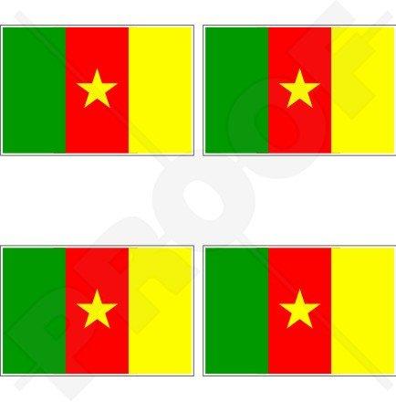Drapeau Cameroun CAMEROUNAIS, Afrique Cameroun Afrique 5,1 cm (50 mm) bumper-helmet en vinyle autocollants, Stickers x4