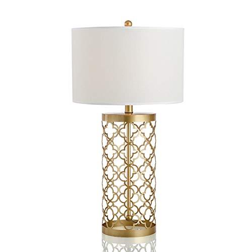 Gal Lámpara de mesa decorativa de metal dorado con diseño retro hueco, de lujo, simple, antiguo, luz cálida, para sala de estar, dormitorio, hotel, oficina (tamaño: L)