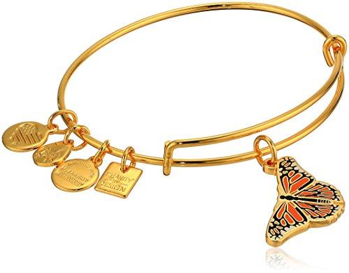 Alex and Ani Women's Monarch Butterfly Charm Bangle Bracelet, Shiny Gold, Expandable