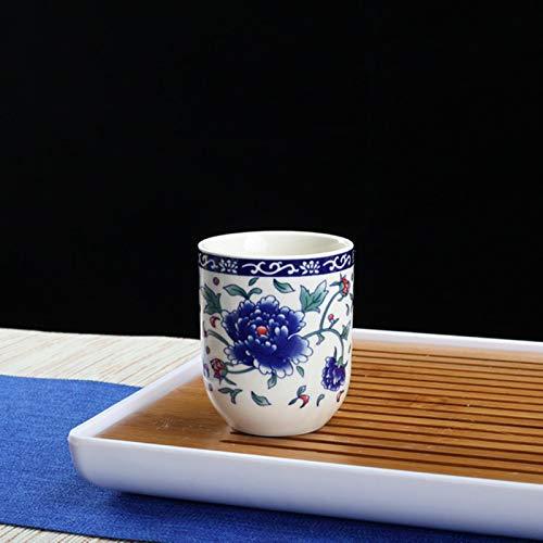 4 unids/set de porcelana azul y blanco taza de té retro cerámica taza de té boutique Tazón de té café tazas de vino bebedero suministros 150ml