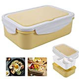 Bento Box Hermetico, Lunch Bento Box con 3 Compartimentos y Cubiertos, Fiambreras bento, Fiambrera infantil adecuada para hornos de microondas y lavavajillas(1500 ML) (Yellow solid color)