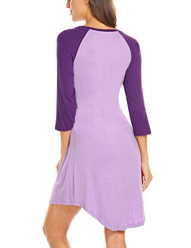 Unibelle Damen Stillnachthemd Umstands-Nachthemd Stillkleid Umstandskleid mit Stillfunktion Lila - 5