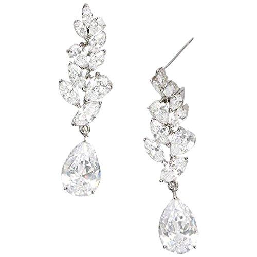 Laurel Leaf Cubic Zirconia Drop Earrings Style 149671EP, Silver