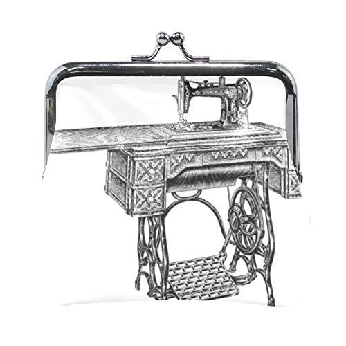 TIKISMILE Vintage Nähmaschine Leder Mode Schnalle Süße Münzbörse Taschen Clutch Pouch Wallet