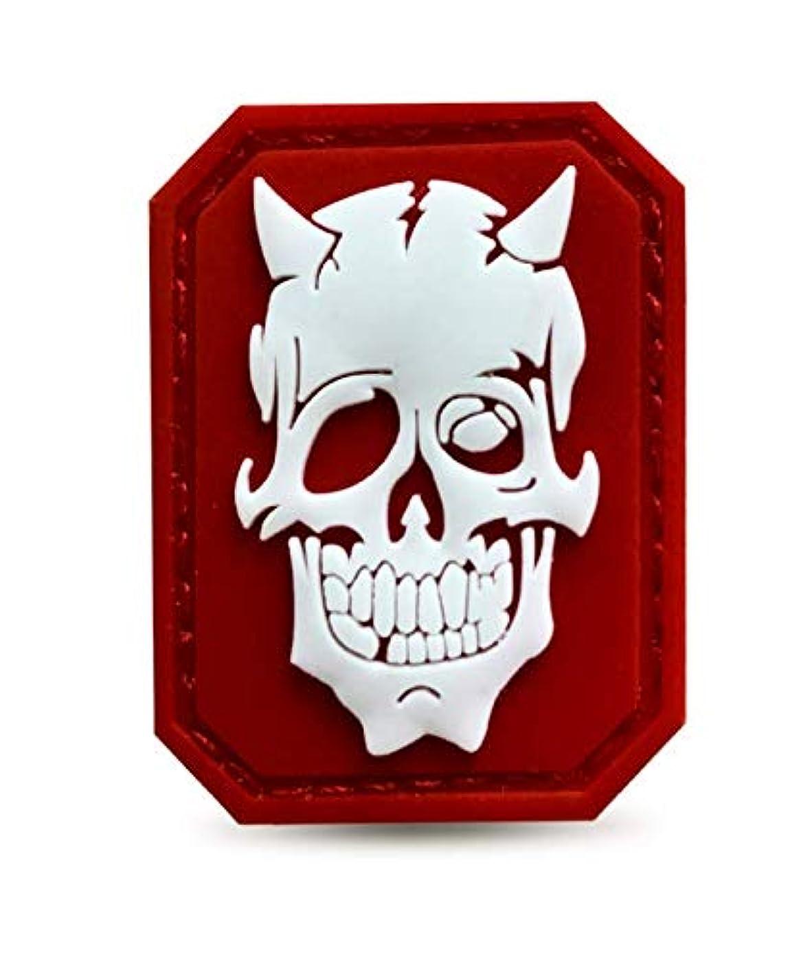 Morton Home Devil Skull PVC Morale Patch/Luminous Skull Patches (red)