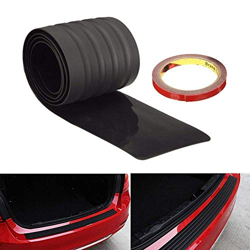 iJDMTOY (1 Black Rubber Rear Trunk Edge Guard Scratch Protector Cover Mat w/Double-Sided Tape Compatible With Car SUV Jeep, etc