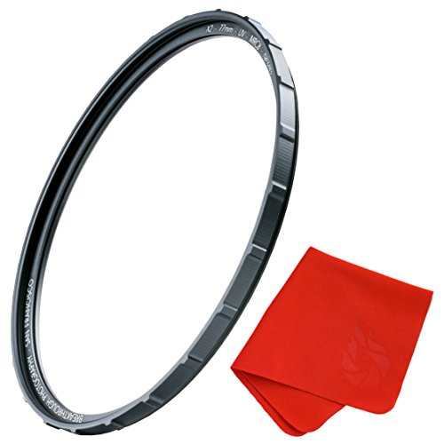 77mm X2 UV Filter for Camera Lenses - UV Protection Photography Filter with Lens Cloth - MRC8, Nanotec Coatings, Ultra-Slim, Traction Frame, Weather-Sealed by Breakthrough Photography