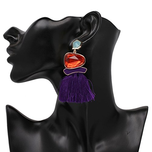Pendiente de piedra preciosa en forma de gota con fleco largo, de Dairyshop; diseño étnico, color lila