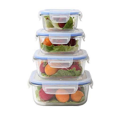 Ousyaah Envases de Vidrio para Alimentos con Clips de Sellado - 8 Piezas (4 Recipientes, 4 Tapas) - a Prueba de Fugas, Microondas y Congelador, Aptas para el lavavajillas - Sin BPA