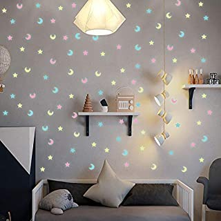 Wall Stickers - 100pcs Luminous Mixed Color Star Moon 3D Wall Sticker kids baby rooms living room Glow in the dark home de...