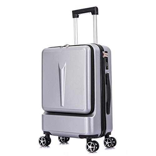 ADDG Creative Trolley Suitcase Rolling Luggage Spinner On Wheel Business Cabin Travel Luggage With Laptop Bag,Silver,20 inches