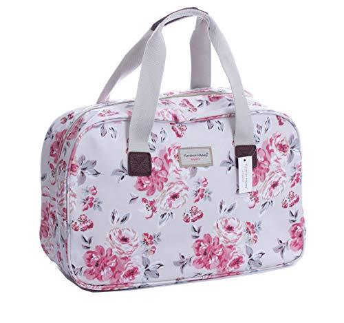 Oilcloth Holiday Travel Weekender Tote Bag Handbag Floral Owl Stripe Print (Large, Rosy Roses)