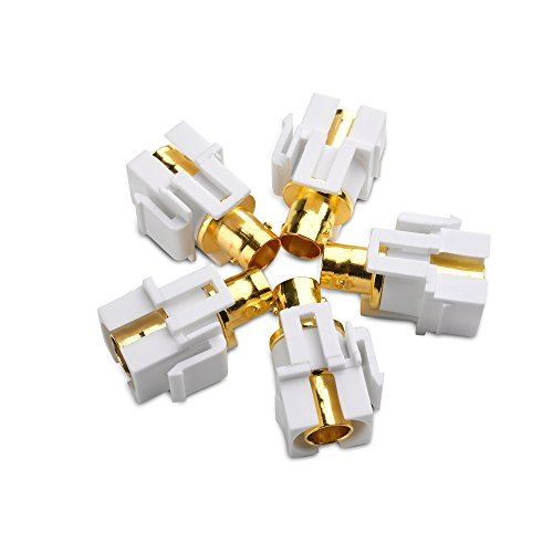 Cable Matters 5-Pack Gold-Plated BNC Keystone Jack Inserts in White