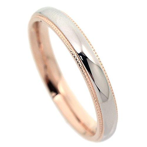 刻印可能 ミル打ちリング ステンレス 甲丸 リング 指輪 ピンクゴールド1本 7号