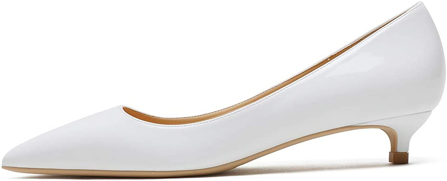 MERUMOTE Women's Casual Business Patent Pointed Toe Low Kitten Heel Daily Pumps